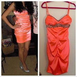 Windsor Coral Beaded Ruched Evening Dress Coral